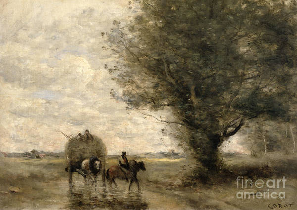 The Print featuring the painting The Haycart by Jean Baptiste Camille Corot