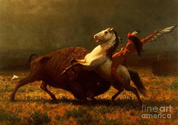 Albert Bierstadt Print featuring the painting The Last Of The Buffalo by Albert Bierstadt