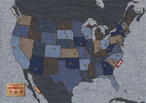 Usa Print featuring the digital art United States Of Denim by Michael Tompsett