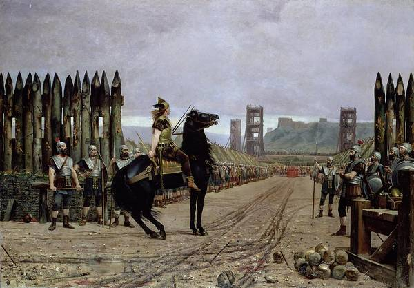 Vercingetorix Print featuring the painting Vercingetorix Before Caesar by Henri Paul Motte