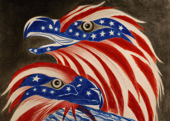 American Print featuring the drawing Proud Of Eagle by Jalal Gilani