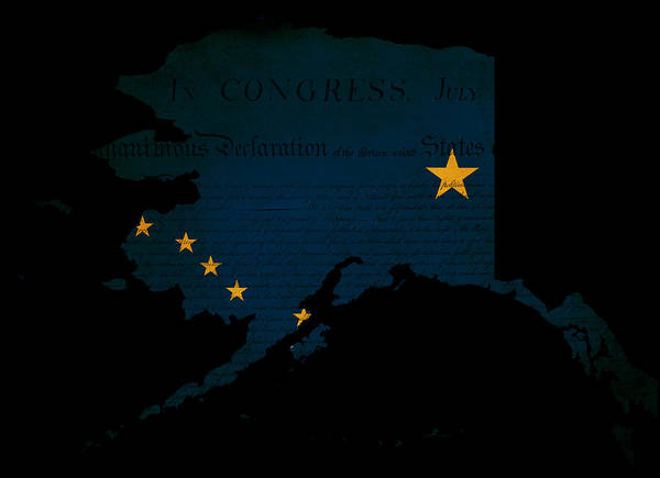 Usa Print featuring the photograph Usa American Alaska State Map Outline With Grunge Effect Flag by Matthew Gibson