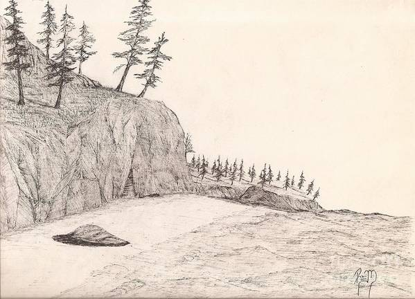 Pen And Ink Print featuring the drawing A Lakeshore... Sketch by Robert Meszaros