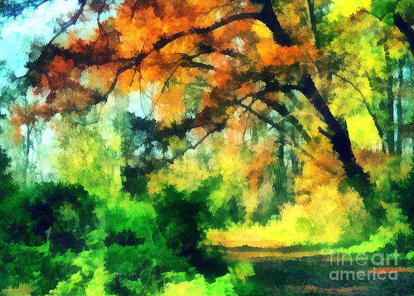 Odon Print featuring the painting Autumn In The Woods by Odon Czintos
