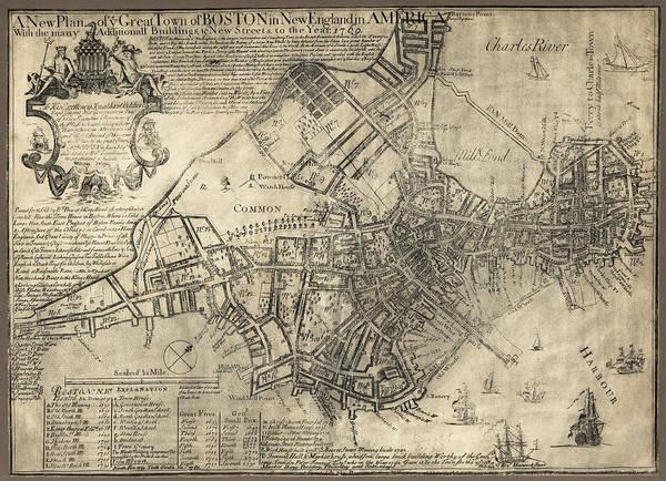 Boston Print featuring the photograph Boston Of British Dominion Map 1769 by Daniel Hagerman