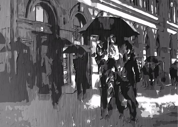 City Rain Print featuring the digital art City Rain by Dan Sproul
