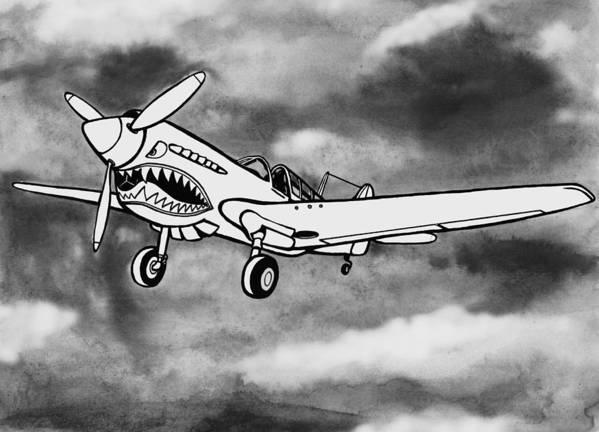 Warhawk Print featuring the mixed media Curtiss P-40 Warhawk 2 by Scott Nelson