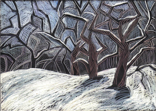 Maine Landscape Print featuring the drawing Early Snow by Grace Keown