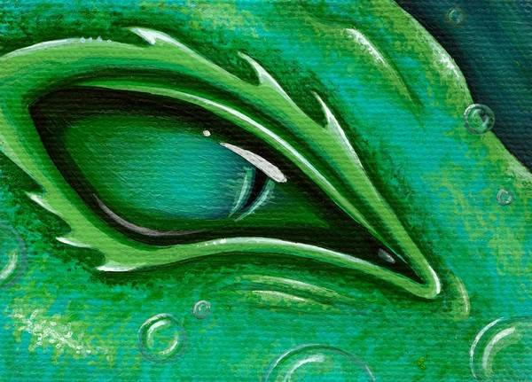 Green Dragon Print featuring the painting Eye Of The Green Algae Dragon by Elaina Wagner