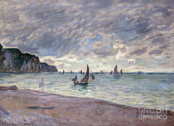 Monet Print featuring the painting Fishing Boats In Front Of The Beach And Cliffs Of Pourville by Claude Monet