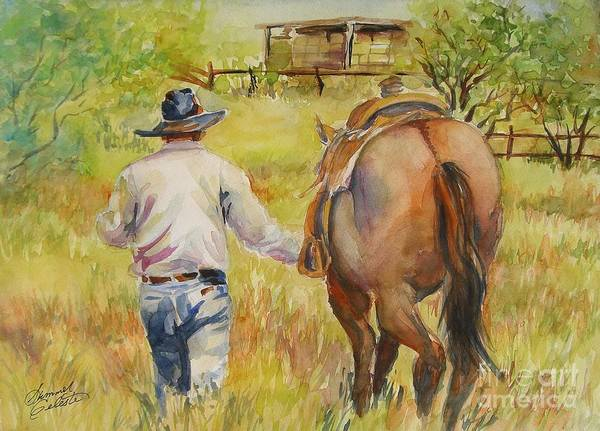 Cowboy Print featuring the painting Going Home by Summer Celeste