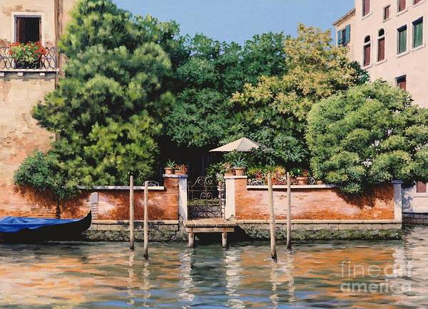 Venice Oasis Print featuring the painting Grand Canal Oasis by Michael Swanson