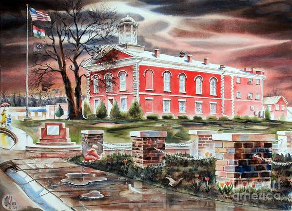 Iron County Courthouse No W102 Print featuring the painting Iron County Courthouse No W102 by Kip DeVore