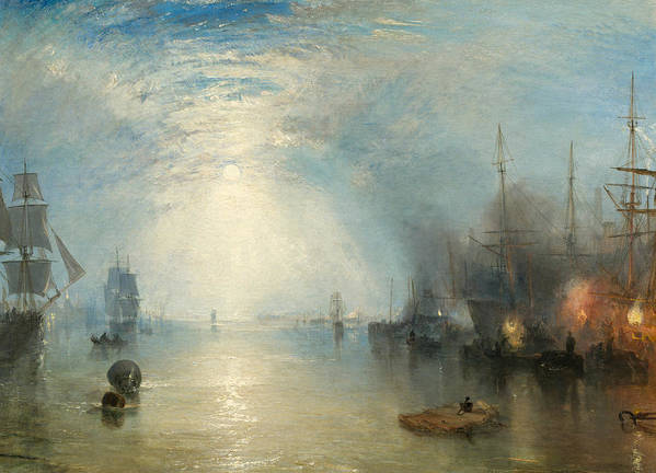 Shipping; Industry; Coal; Fire; Night; Moon; Sailing; Sail; Boat; Burning; Coal; Kealboat; Keels; Cargo Print featuring the painting Keelmen Heaving In Coals By Moonlight by Joseph Mallord William Turner