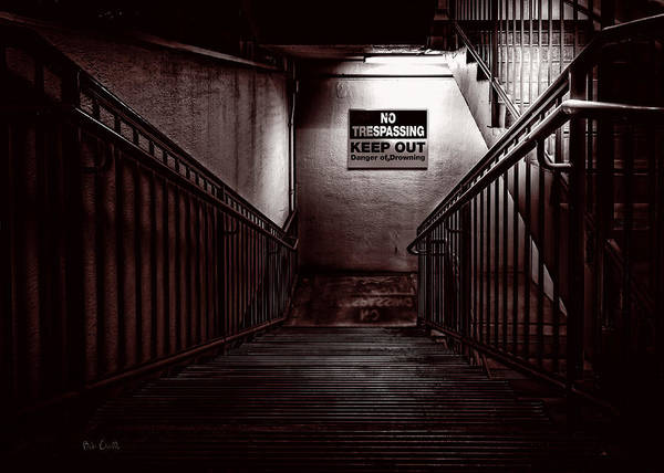 Night Print featuring the photograph Keep Out Danger Of Drowning by Bob Orsillo