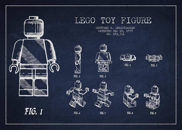 Lego Print featuring the drawing Lego Toy Figure Patent Drawing by Aged Pixel
