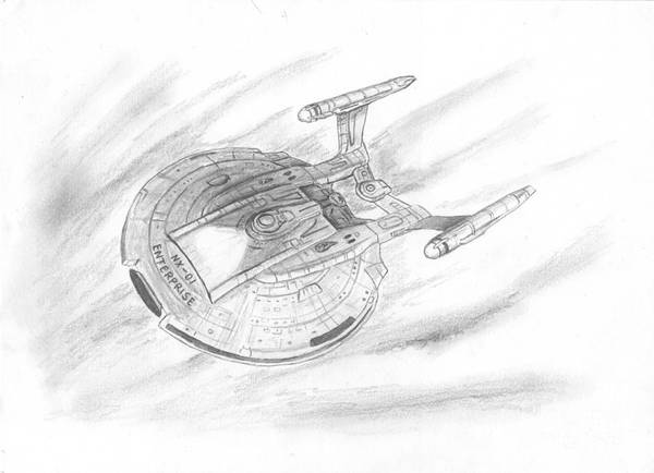 Space Print featuring the drawing Nx-01 Enterprise by Michael Penny