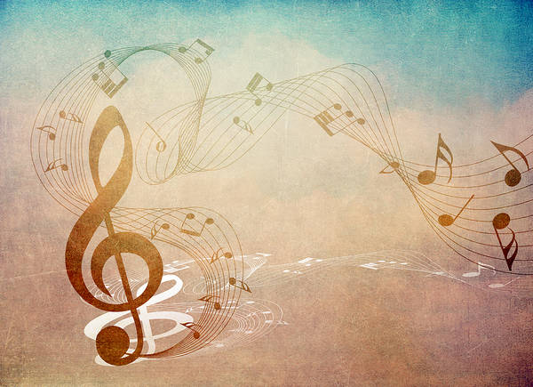 Music Print featuring the mixed media Please Dont Stop The Music by Angelina Vick