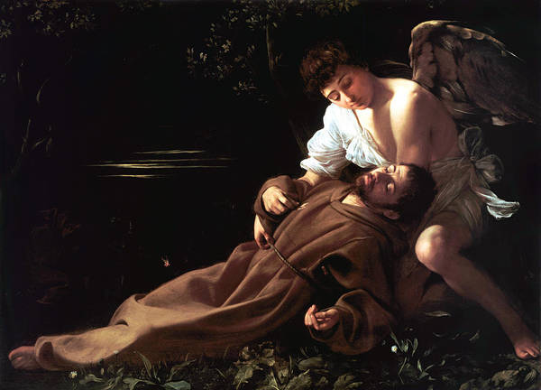 Caravaggio Print featuring the digital art Saint Francis Of Assisi In Ecstasy by Caravaggio