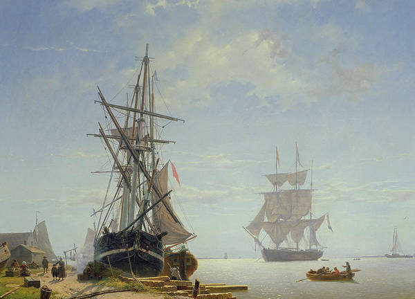Boat Print featuring the painting Ships In A Dutch Estuary by WA Van Deventer