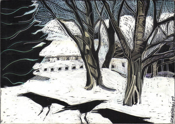 Maine Print featuring the drawing Snow Noise by Grace Keown