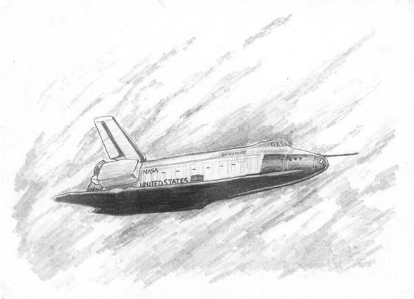 Space Print featuring the drawing Space Shuttle Enterprise by Michael Penny