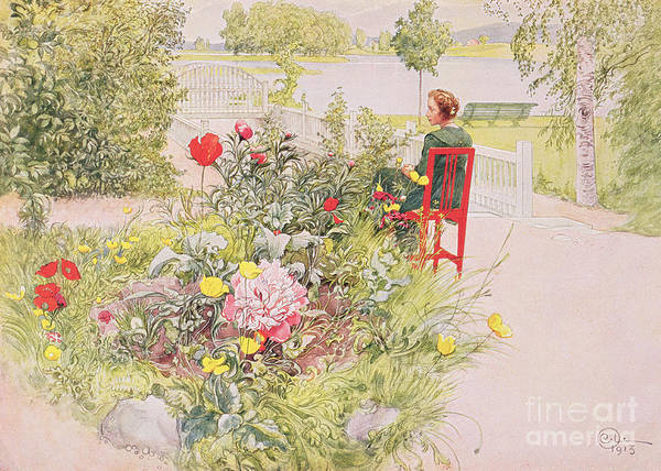Landscape; Park; Garden; Female; Seated Print featuring the painting Summer In Sundborn by Carl Larsson