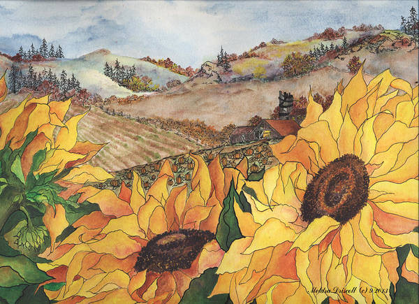 Sunflower Print featuring the painting Sunflower Serenity by Meldra Driscoll