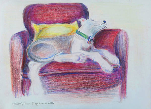 Chair Print featuring the drawing The Comfy Chair by Ginny Schmidt