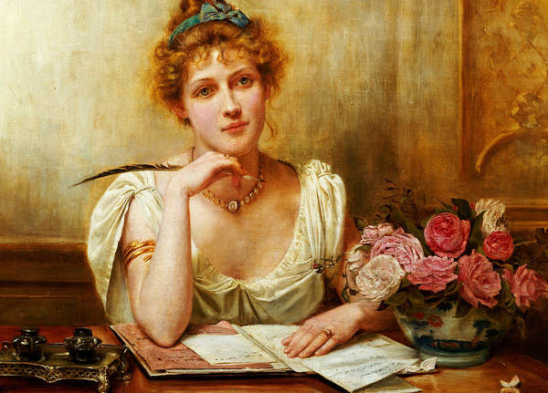 Letter; Writing; Love; Thinking; Female; Seated; Desk; Half Length; Feather; Quill; Ink; Inkwell; Roses; 19th; 20th Print featuring the painting The Letter by George Goodwin Kilburne