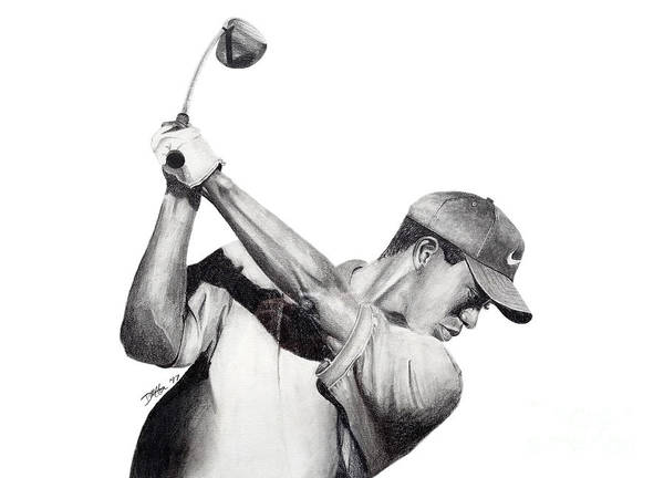 Tiger Woods Print featuring the drawing Tiger Backswing by Devin Millington