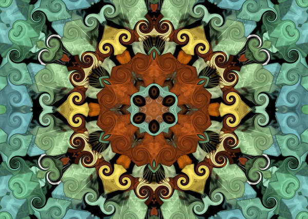 Mandala Print featuring the digital art Tourlidou S01-01 by Variance Collections