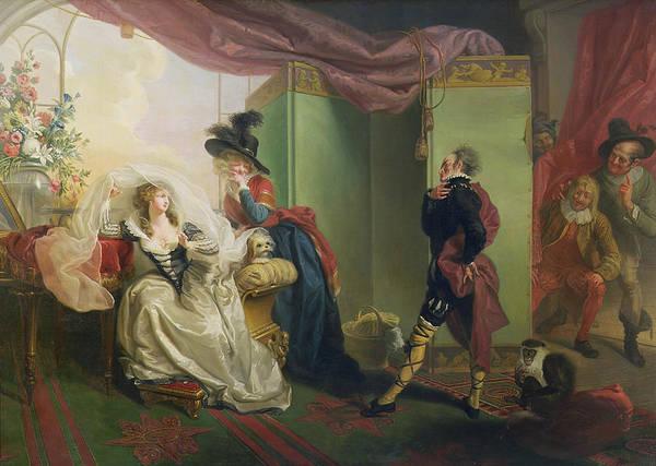 Malvolio Print featuring the painting Malvolio Before Olivia - From 'twelfth Night' by Johann Heinrich Ramberg