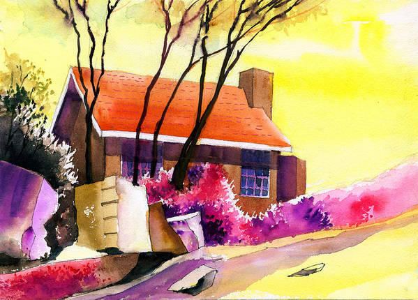 House Print featuring the painting Red House by Anil Nene