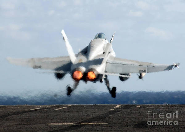 Horizontal Print featuring the photograph An Fa-18c Hornet Launches by Stocktrek Images