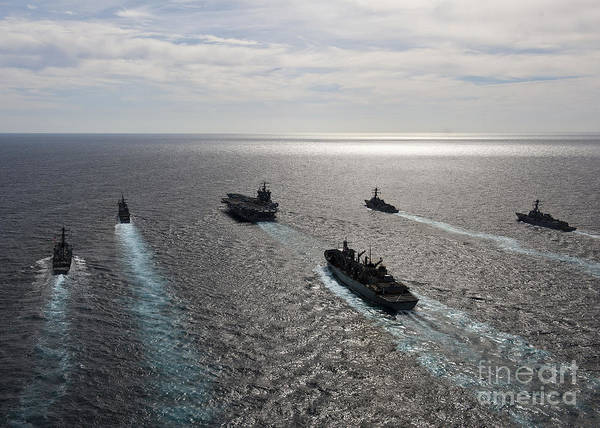 Atlantic Ocean Print featuring the photograph The Enterprise Carrier Strike Group by Stocktrek Images