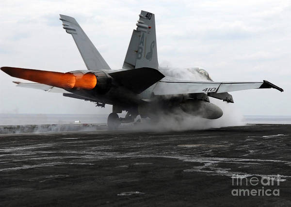 Color Image Print featuring the photograph An Fa-18c Hornet Launches by Stocktrek Images