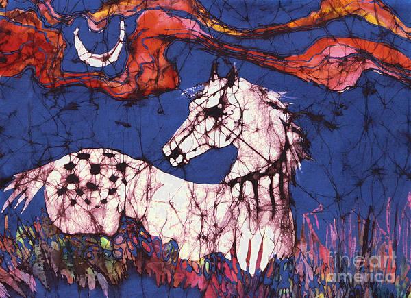 Batik Print featuring the tapestry - textile Appaloosa In Flower Field by Carol Law Conklin