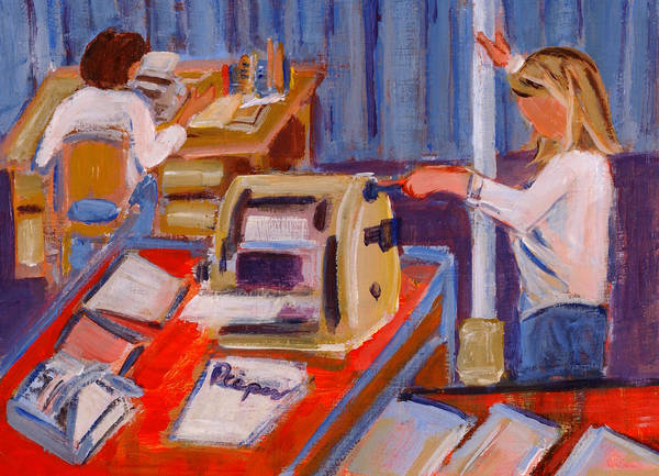 To Change The World With A Typewriter And A Mimeograph Machine Print featuring the painting Cranking Out Reams Of Radical by Elzbieta Zemaitis