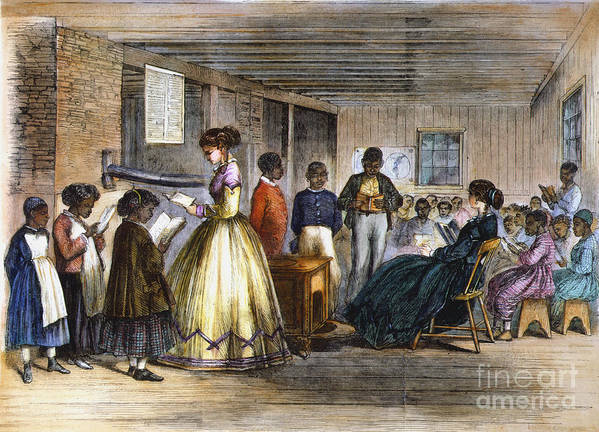 1866 Print featuring the photograph Freedmens School by Granger