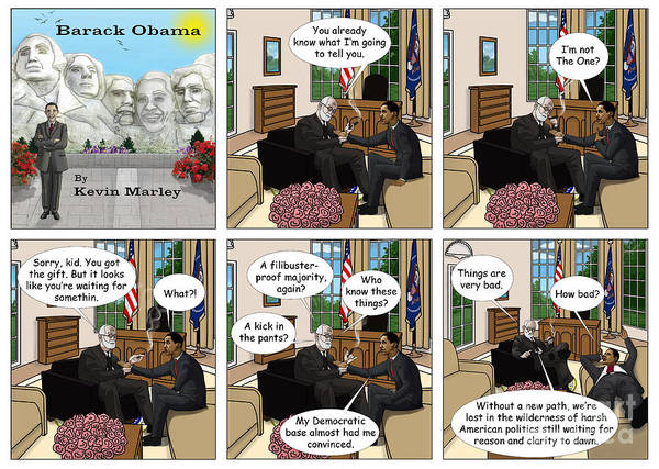 Barack Obama Print featuring the digital art Freud And His Diagnosis II by Kevin Marley