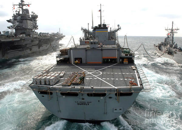 Color Image Print featuring the photograph Usns Supply Conducts A Replenishment by Stocktrek Images
