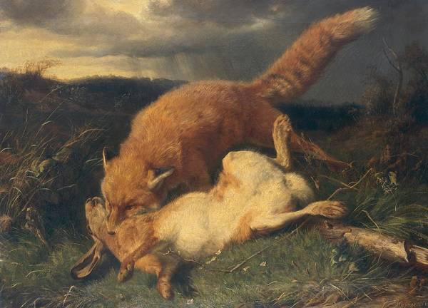 Fox Print featuring the painting Fox And Hare by Johann Baptist Hofner