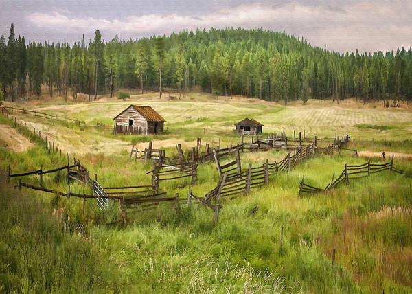 Architecture Print featuring the digital art Old Montana Homestead by Sharon Foster