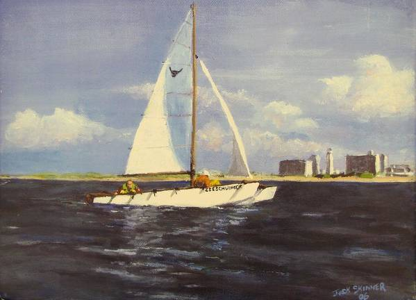 Sailboat Print featuring the painting Sailing In The Netherlands by Jack Skinner