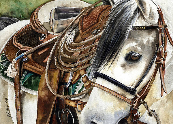 Cowboy Print featuring the painting Stirrup Up by Nadi Spencer