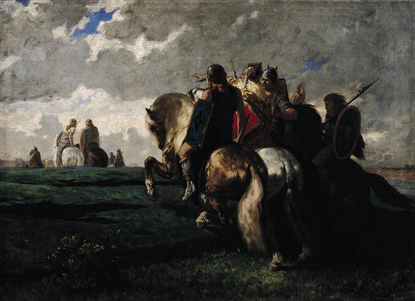 The Print featuring the painting The Barbarians Before Rome by Evariste Vital Luminais