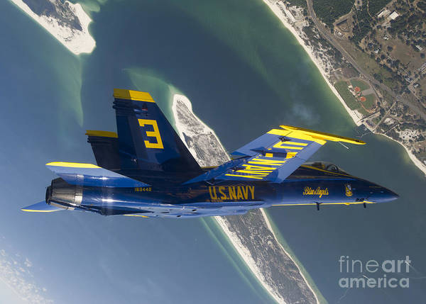 Blue Angels Print featuring the photograph The Blue Angels Perform A Looping by Stocktrek Images