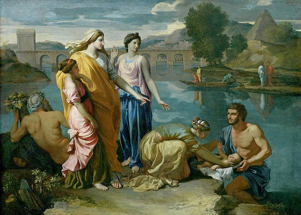 The Print featuring the painting The Finding Of Moses by Nicolas Poussin