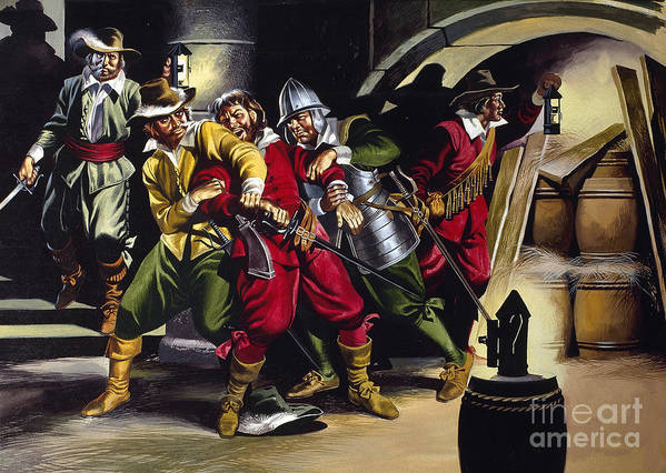 Gunpowder Print featuring the painting The Gunpowder Plot by Ron Embleton